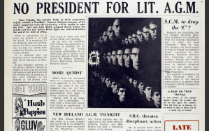 """An Extract from """"The Gown"""", noting that Eamonn McCann has been suspended, leading to the Literific will not have a President for the third year running."""